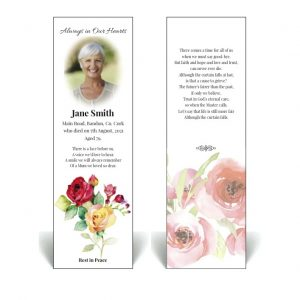 Memorial bookmark featuring floral images.
