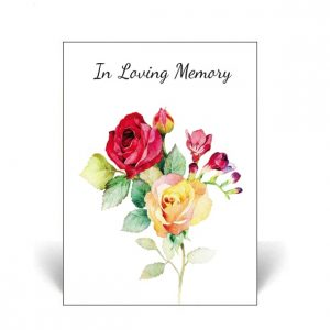 Memorial Card featuring watercolour roses