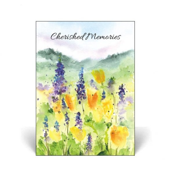 Memorial Card with watercolour flowers