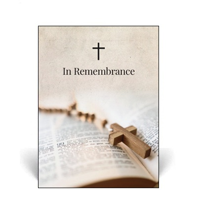 Memorial Card featuring rosary beads and a bible