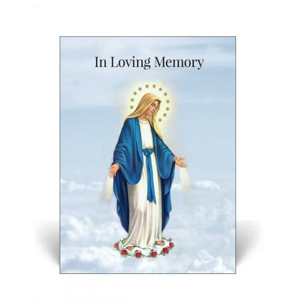 Memorial Card with Virgin Mary on the cover