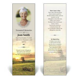 Memorial bookmark with bales of hay