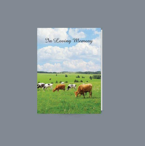 Memorial Card featuring a farming scene of cows grazing