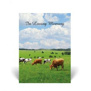 Memorial Card featuring cows grazing in a field of grass
