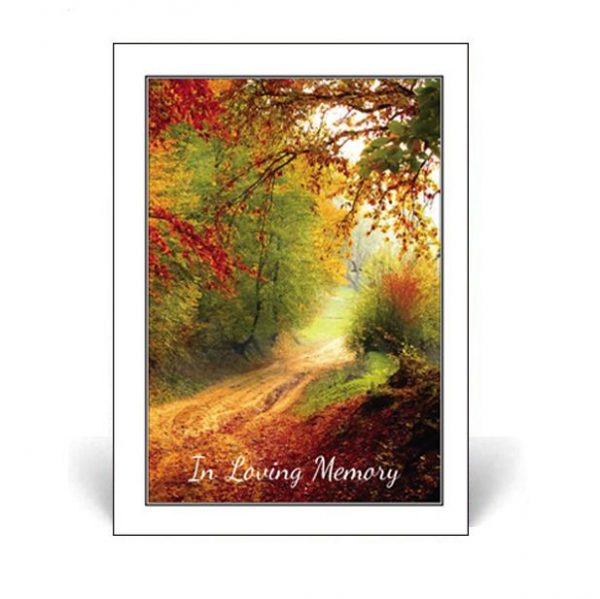 Memorial Card with an autumn forest scene on the cover