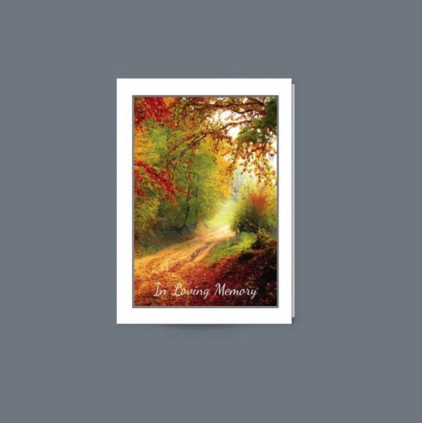 Memorial Card Featuring an autumnal forest scene