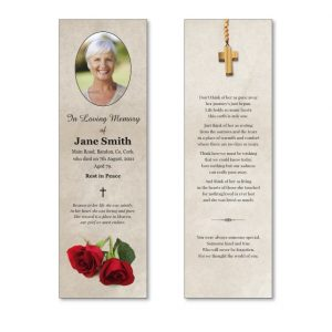 Memorial Bookmark featuring roses and a cross