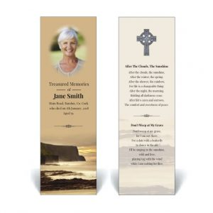 Irish themed memorial bookmark featuring Irish coastline