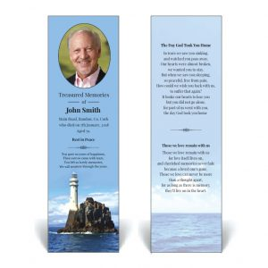 Memorial bookmark featuring Fastnet lighthouse
