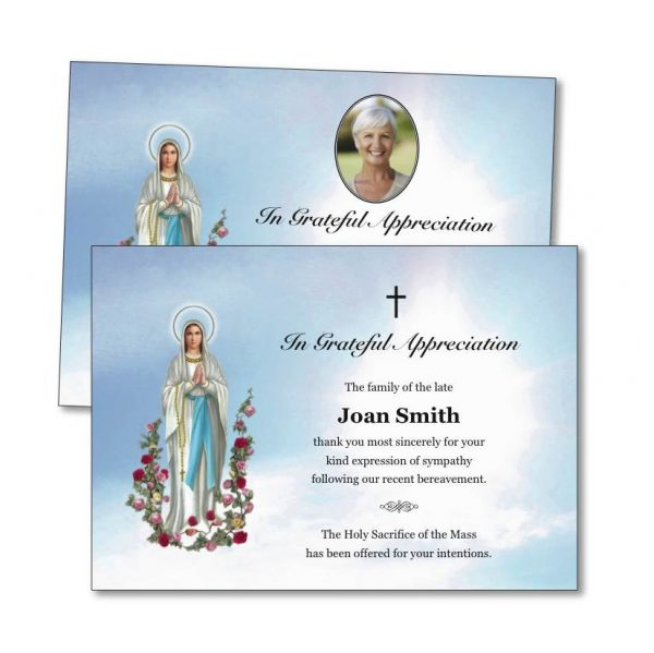 Acknowledgement Card with Our Lady on the front.