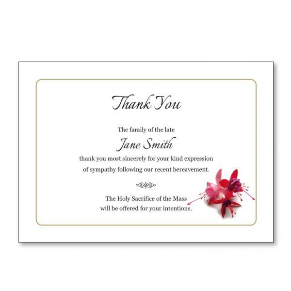 Acknowledgement Card featuring a fuchsia flower