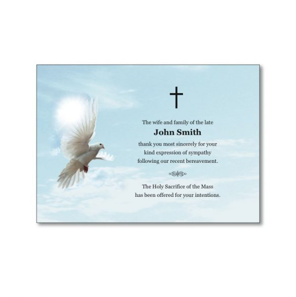 Acknowledgement Card featuring a dove