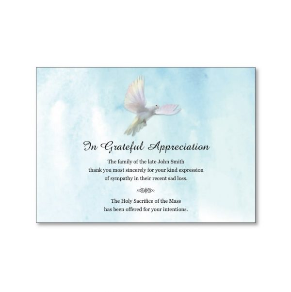 Acknowledgement card featuring a peace dove.