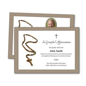 Acknowledgement Card with rosary beads