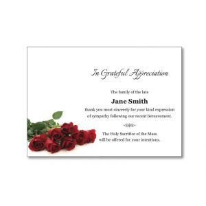 Acknowledgement Card featuring red roses