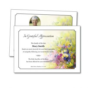 Acknowledgement Card featuring a spray of flowers