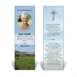 Irish themed memorial bookmark with West Cork scenery