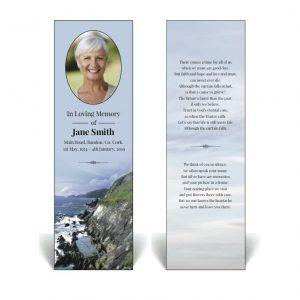 Irish theme memorial bookmark showing Irish Coastline