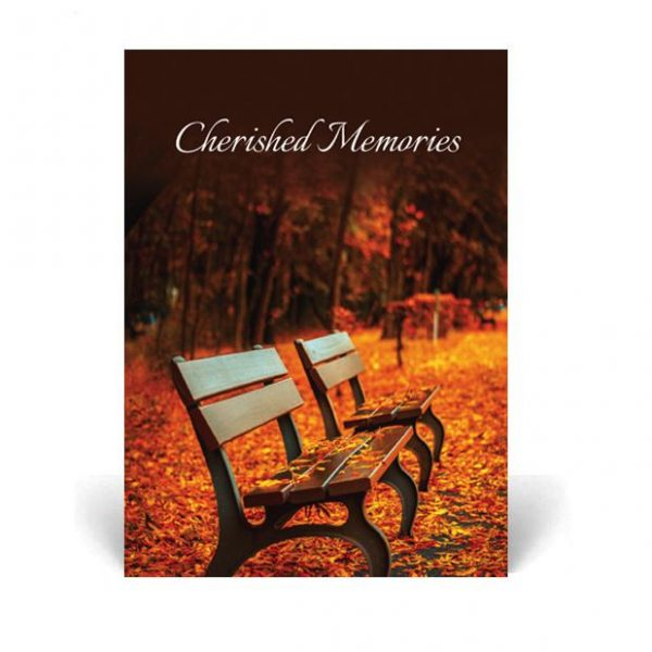 Memorial Card featuring a bench in autumn