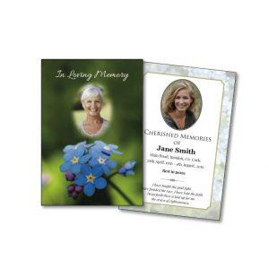 Single Floral Memorial Card