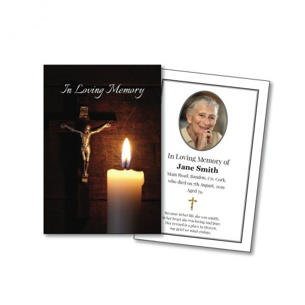 Single Memorial Card showing a crucifix and candle.