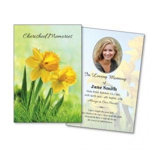 Floral Single Memorial Cards