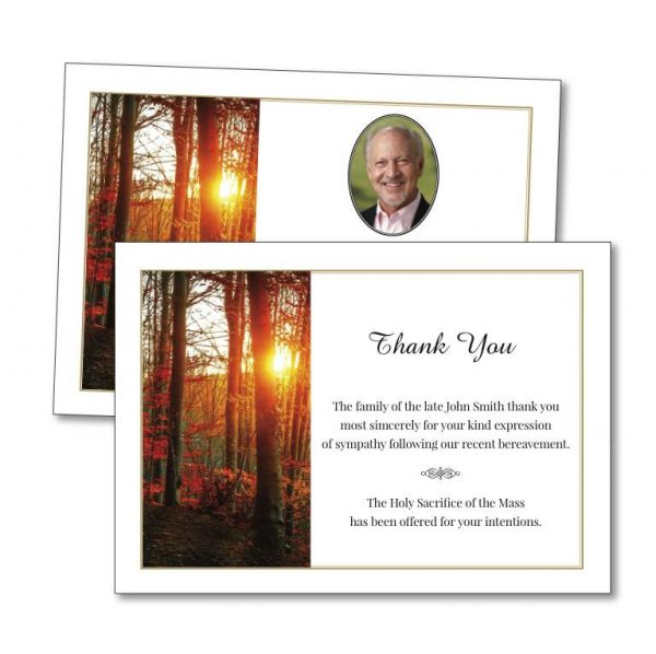 Acknowledgement Card with an autumn forest image