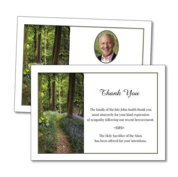 Acknowledgement Card with a forest image on the front