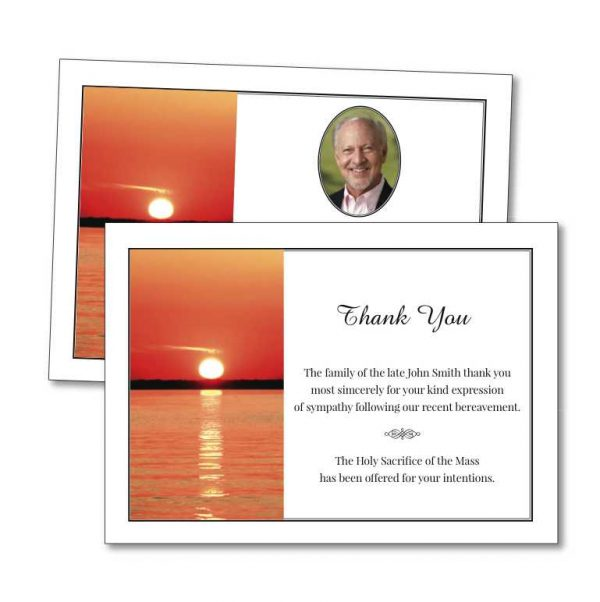 Acknowledgement Card with image of a setting sun over the ocean
