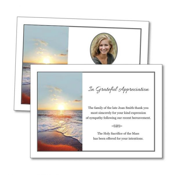 Acknowledgement Card with Sun rising on a beach