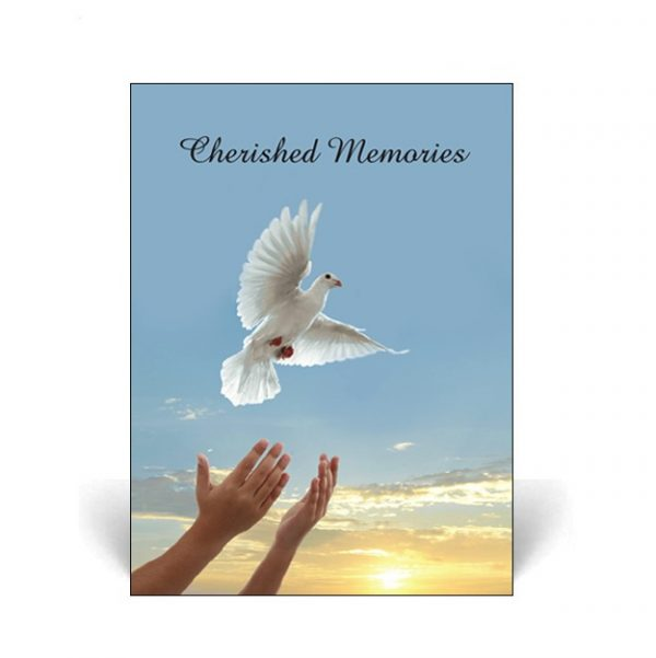 Memorial Card featuring a dove being released