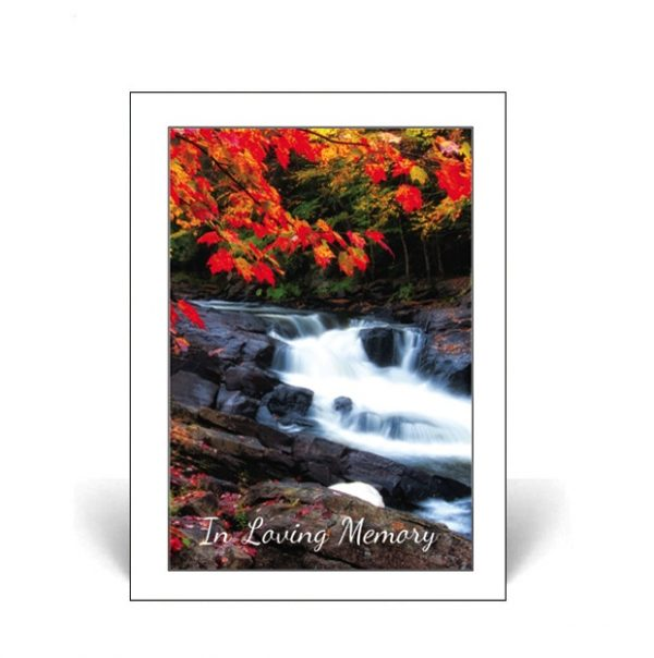 Memorial Card featuring a stream in autumn