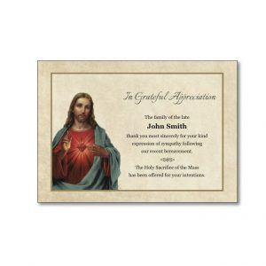 Acknowledgement Card with an image of Jesus