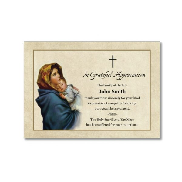 Acknowledgement Card featuring Mary and child