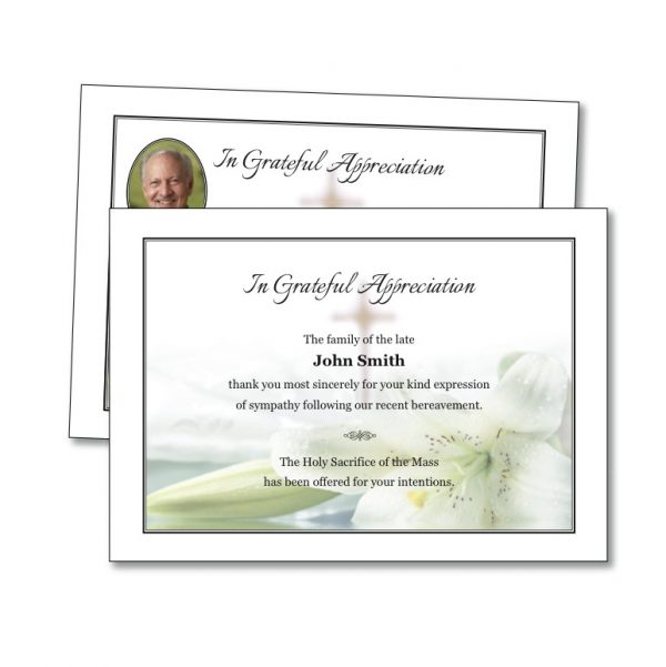 Acknowledgement Card featuring a cross with lilies