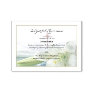 Acknowledgement Card featuring a cross and lilies in water