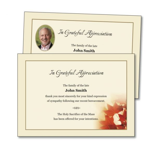 Acknowledgement Card featuring autumn leaves