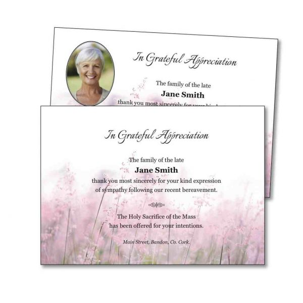Acknowledgement Card featuring pink flowers