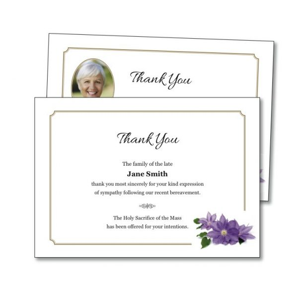 Acknowledgement Card featuring a purple flower