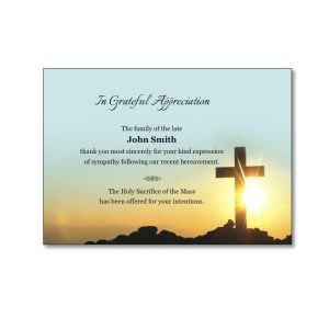 Acknowledgement Card featuring a cross and sky