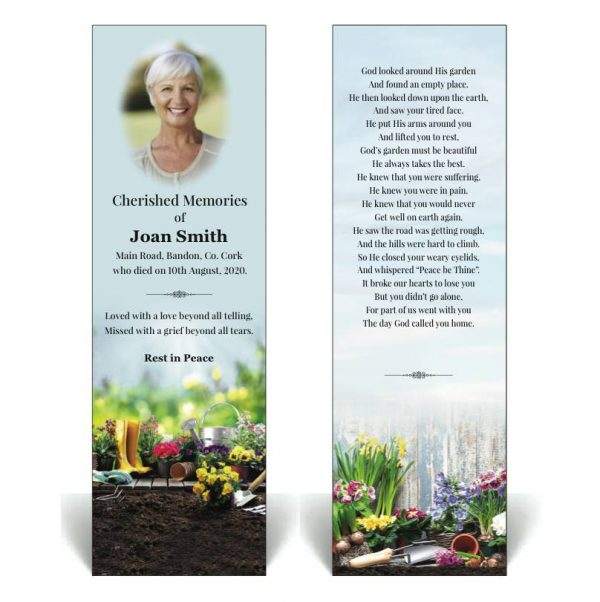 Memorial Bookmark featuring gardening tools and plants