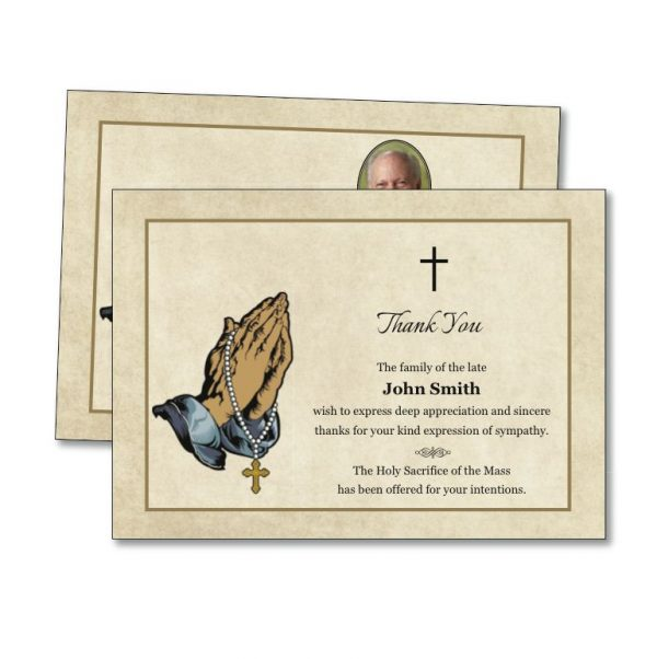 Acknowledgement Card featuring praying hands on the front