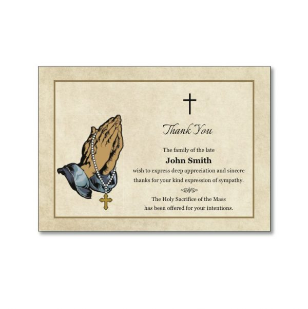 Acknowledgement Cards featuring praying hands