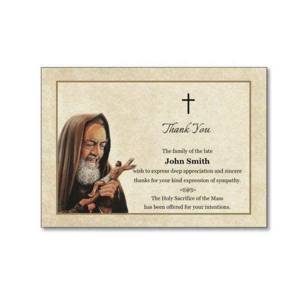 Acknowledgement Card featuring Padre Pio