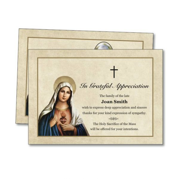 Acknowledgement Card featuring the Virgin Mary