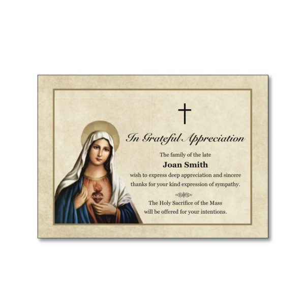 Acknowledgement with image of the Virgin Mary