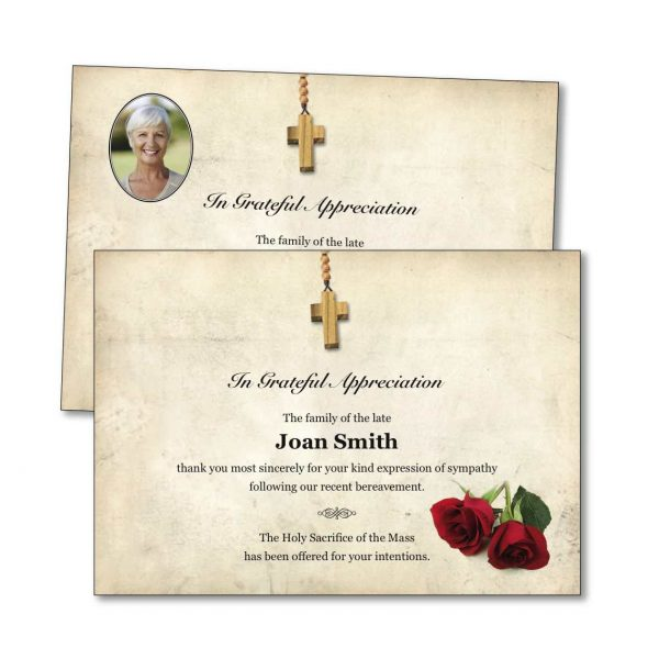 Acknowledgement Card featuring a cross and rose