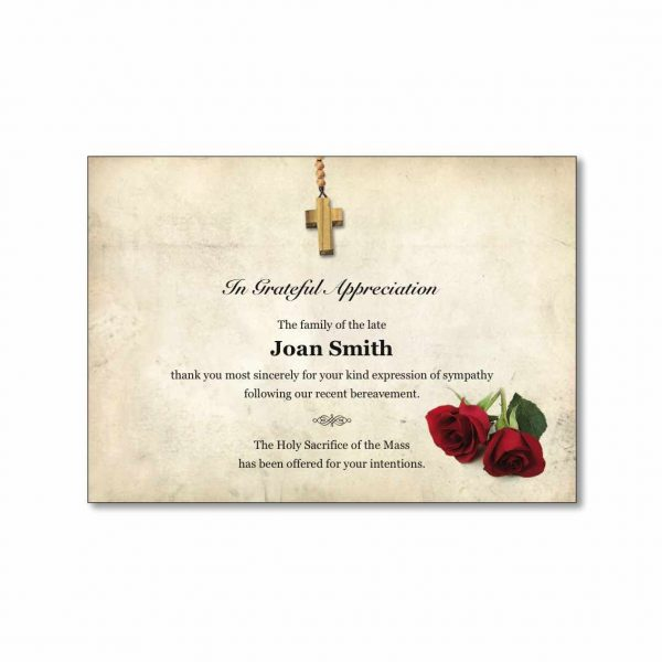 A7 Acknowledgement Card featuring a cross and rose