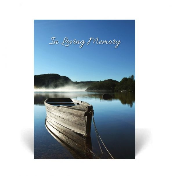Memorial Card featuring a boat on a calm lake