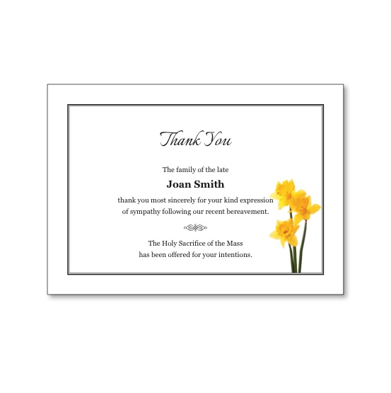 Acknowledgement Card featuring a daffodil